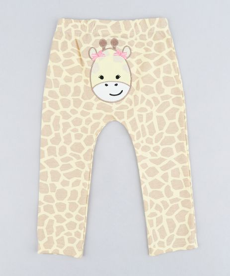 Calca-Infantil-Girafa-Estampada-Animal-Print-em-Algodao---Sustentavel-Amarelo-9109988-Amarelo_1