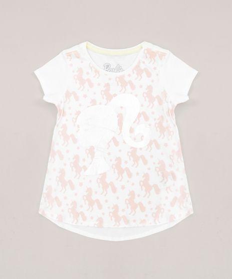 Blusa-Infantil-Barbie-com-Estampa-de-Unicornios-Manga-Curta-Decote-Redondo-em-Algodao---Sustentavel-Off-White-9277590-Off_White_1