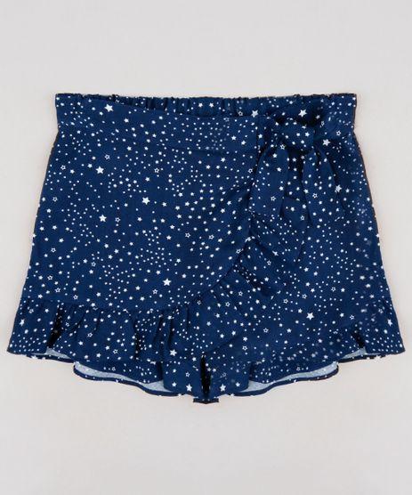 Short-Saia-Infantil-Estampada-de-Estrelas-com-Transpasse-e-Laco--Azul-Marinho-9257249-Azul_Marinho_1