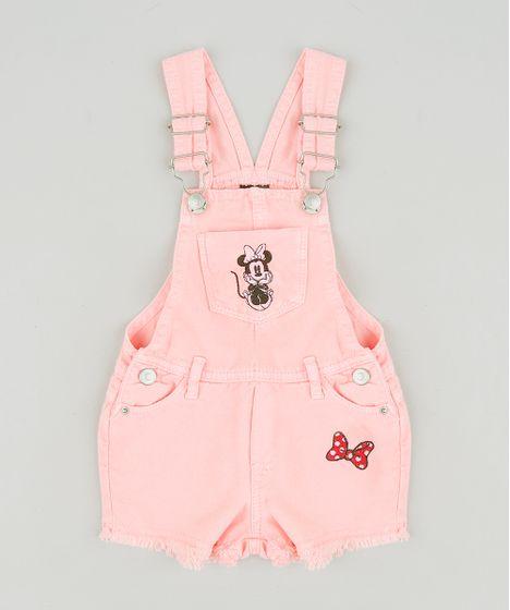 9309842ae6e Jardineira Color Infantil Minnie com Bordado Rosa Neon - cea