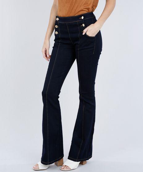 Calca-Jeans-Feminina-Flare-com-Botoes-Azul-Escuro-9054492-Azul_Escuro_1
