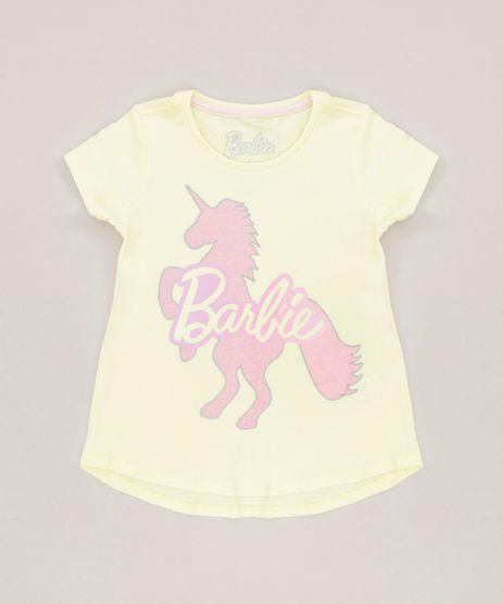 Blusa-Infantil-Barbie-Unicornio-com-Glitter-Manga-Curta-Decote-Redondo-em-Algodao---Sustentavel-Amarela-Claro-9277589-Amarelo_Claro_1