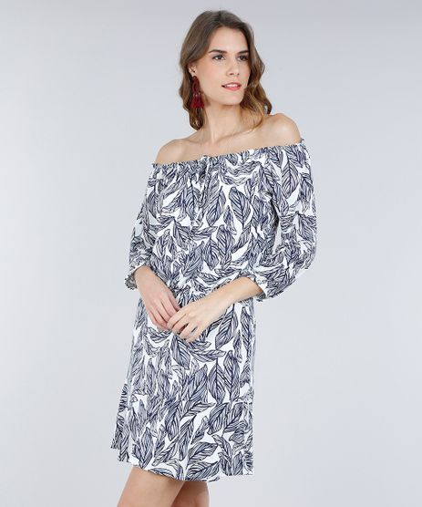 Vestido-Feminino-Curto-Ombro-a-Ombro-Estampado-de-Folhagens-Off-White-9282254-Off_White_1