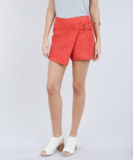Short-Saia-Feminino-em-Suede-com-Fivela-Coral-9190786-Coral_1