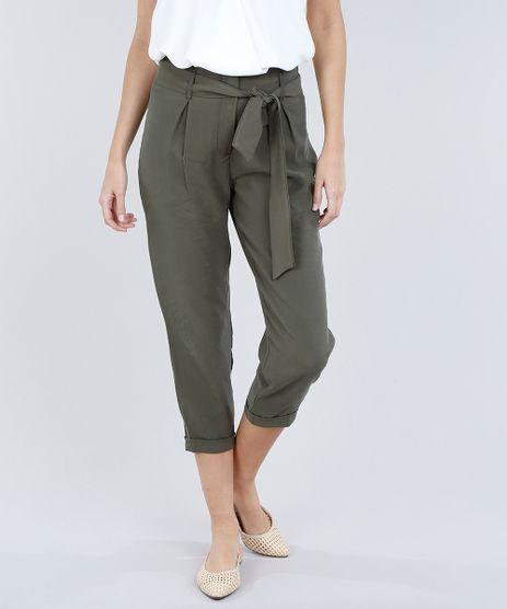 Calca-Feminina-Clochard-com-Faixa-da-Amarrar-Verde-Militar-9189776-Verde_Militar_1