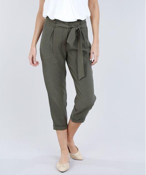 40f60679e Calça Feminina Clochard com Faixa da Amarrar Verde Militar - cea
