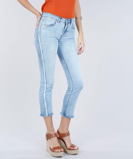 Calca-Jeans-Feminina-Slim-com-Faixas-Laterais-Azul-Claro-9299947-Azul_Claro_1