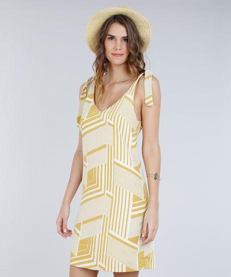 Vestido-Feminino-Curto-Estampado-Geometrico-com-No-Decote-V-Amarelo-9185695-Amarelo_1