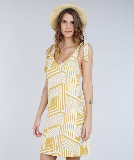 Vestido-Feminino-Curto-Estampado-Geometrico-com-No-Decote- 0cae981ef75af