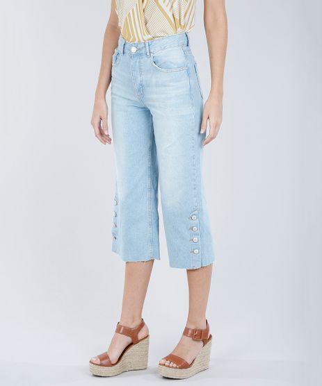 Calca-Jeans-Pantacourt-Feminina-com-Botoes-na-Barra-Azul-Claro-9269739-Azul_Claro_1