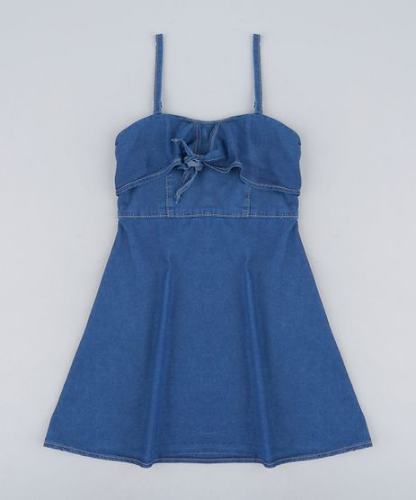 Vestido-Infantil-Jeans-Evase-com-No-Alcas-Finas-Decote-Redondo-Azul-Escuro-9232772-Azul_Escuro_1