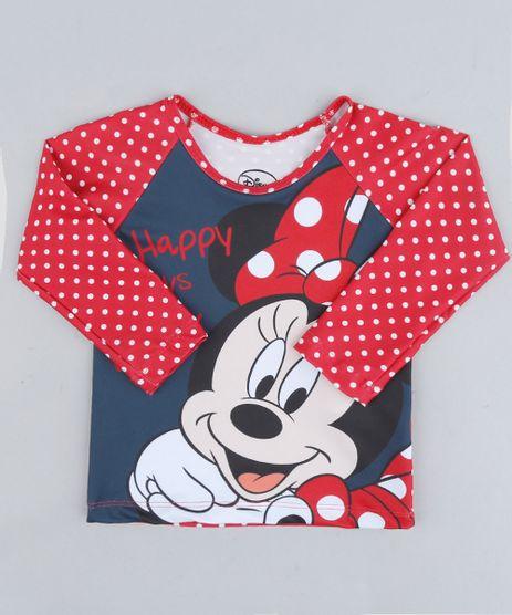 Blusa-de-Praia-Infantil-Minnie-Estampada-de-Poas-com-Protecao-UV50--Manga-Longa-Decote-Redondo-Vermelha-9231641-Vermelho_1