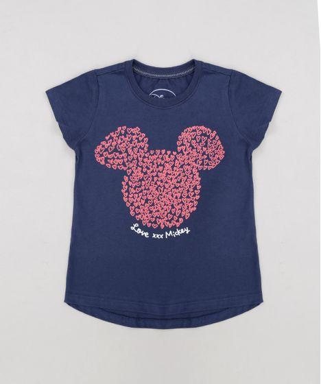 ceb15285e Blusa Infantil Mickey com Glitter Manga Curta Decote Redondo Azul ...