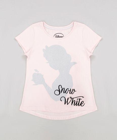 Blusa-Infantil-Princesas-Branca-de-Neve-com-Glitter-Manga-Curta-Decote-Redondo-Rose-9269447-Rose_1