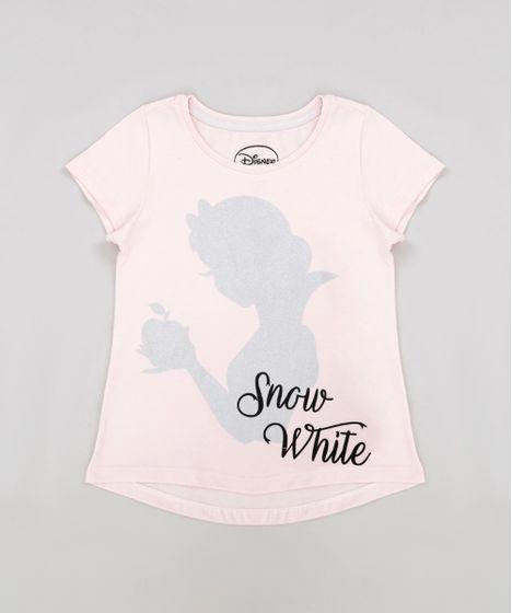 Blusa Infantil Princesas Branca de Neve com Glitter Manga Curta ... d75aed46981