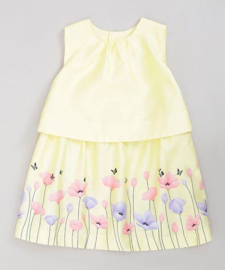 Vestido-Infantil-com-Flores-Sem-Manga-Decote-Redondo-Amarelo-9199667-Amarelo_1
