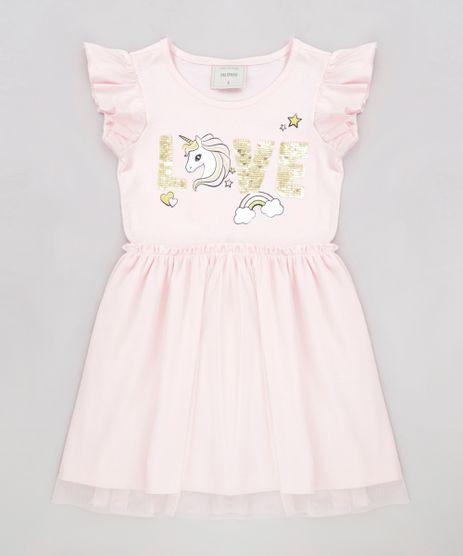 Vestido-Infantil-Unicornio-com-Paete-Dupla-Face-Manga-Curta-Decote-Redondo-Rosa-Claro-9277944-Rosa_Claro_1