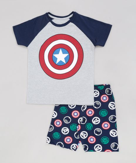 Pijama-Infantil-Capitao-America-Os-Vingadores-Raglan-Manga-Curta-Cinza-Mescla-9224232-Cinza_Mescla_1