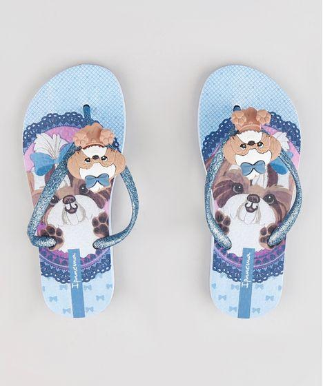 030d39feb0 Chinelo Infantil Ipanema Cachorro com Glitter Azul Claro - cea