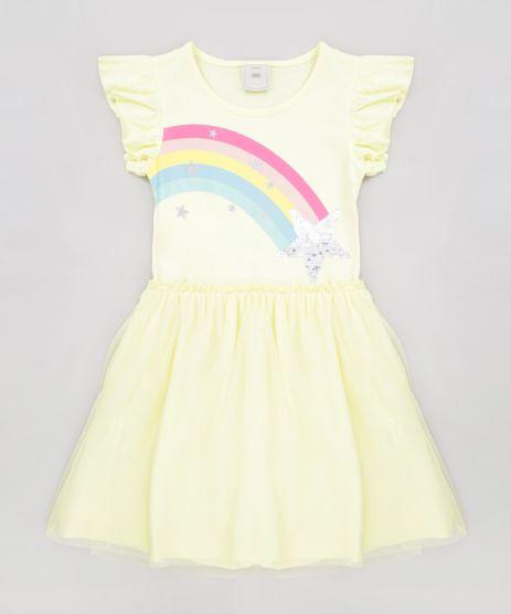 Vestido-Infantil-Arco-Iris-com-Paete-Dupla-Face-Manga-Curta-Decote-Redondo-Amarelo-Claro-9277946-Amarelo_Claro_1