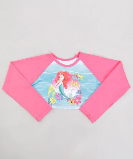 Blusa-de-Praia-Infantil-Pequena-Sereia-Ariel-Cropped-Raglan-Manga-Longa-com-Protecao-UV50--Pink-9231976-Pink_1