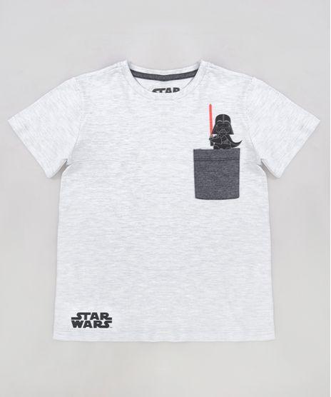 Camiseta-Infantil-Darth-Vader-com-Bolso-Manga-Curta-Gola-Careca-Cinza-Mescla-Claro-9281448-Cinza_Mescla_Claro_1