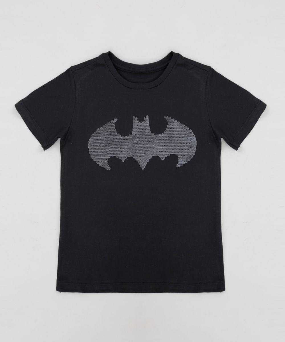1e7d7fd5a5 Camiseta Infantil Batman com Paetê Dupla Face Manga Curta Gola ...