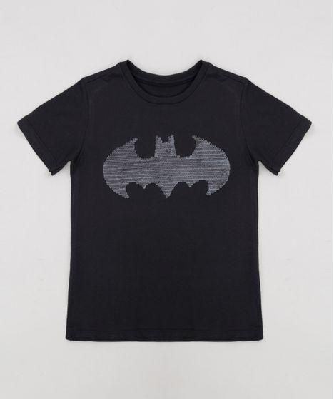 b67981f91a Camiseta Infantil Batman com Paetê Dupla Face Manga Curta Gola ...
