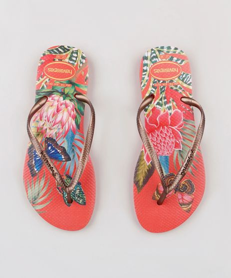 Chinelo-Havaianas-Feminino-Slim-com-Estampa-Floral-Coral-9294540-Coral_1