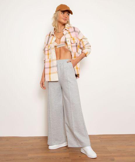 Calca-Wide-Pantalona-de-Moletom-Cintura-Alta-BFF-Cinza-Mescla-1000317-Cinza_Mescla_1