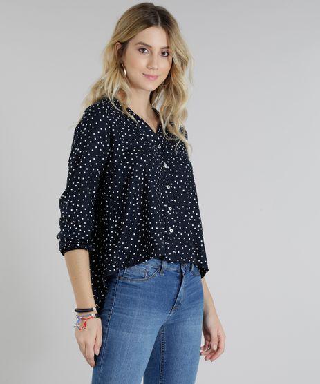 Camisa-Feminina-Estampada-de-Poas-Manga-Longa-Decote-V-Azul-Marinho-9181372-Azul_Marinho_1