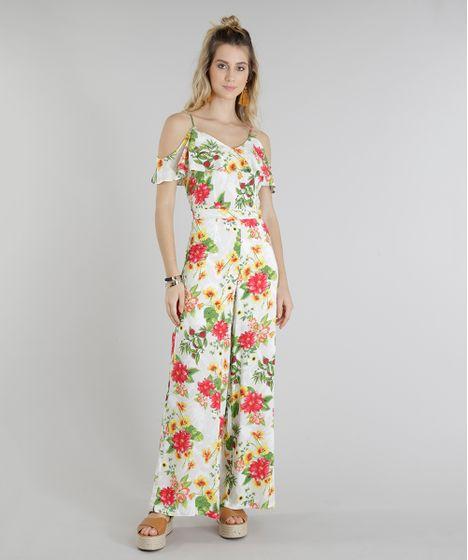 99e24c5f2 Macacão Feminino Open Shoulder Estampado Floral com Babado Off White ...
