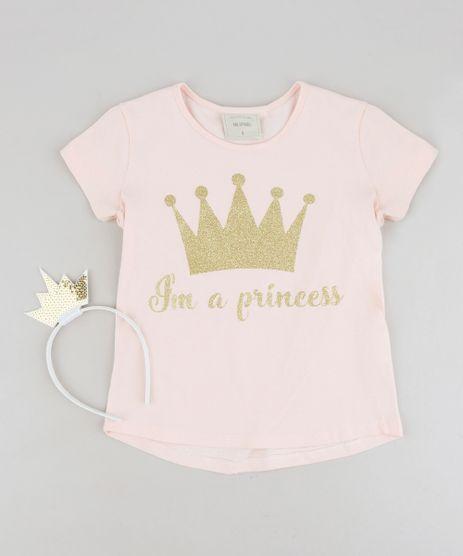 Blusa-Infantil--I-m-a-Princess--com-Glitter-Manga-Curta-Decote-Redondo---Tiara-com-Paetes-Rose-9258956-Rose_1
