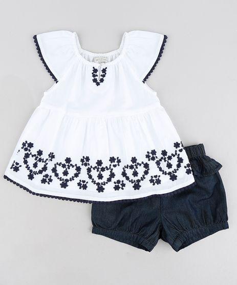 Conjunto-Infantil-de-Blusa-com-Bordado-Manga-Curta-Off-White---Short-Jeans-com-Babados-Azul-Escuro-9155520-Azul_Escuro_1