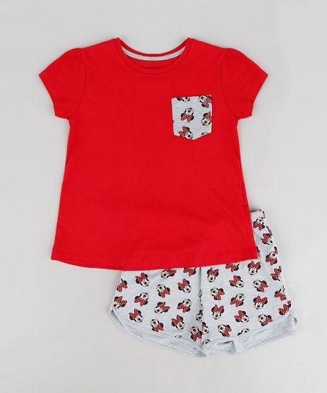 Pijama-Infantil-Minnie-com-Bolso-Manga-Curta-Decote-Redondo-Vermelho-9223961-Vermelho_1