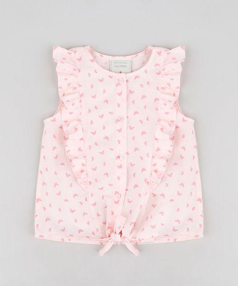 Camisa-Infantil-Estampada-de-Borboletas-com-Babado-Sem-Manga-Decote-Redondo-Rosa-Claro-9182770-Rosa_Claro_1