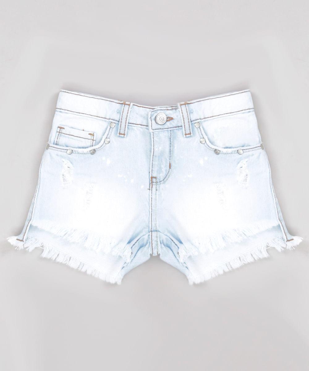 63c85596d4 Short Jeans Infantil com Tacha e Barra Desfiada Azul Claro ...