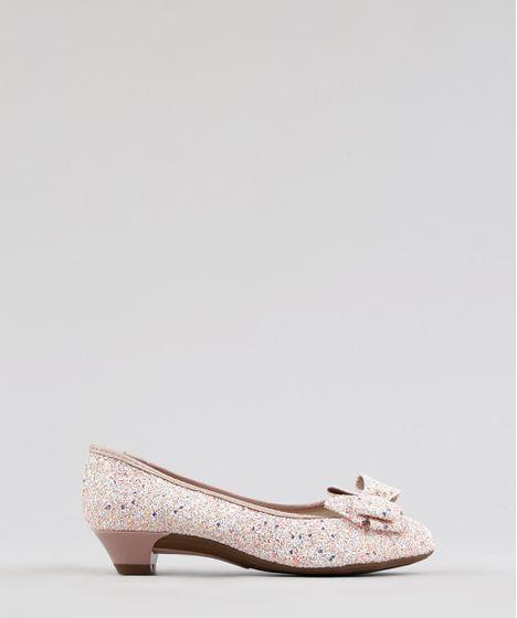 5391a258e Sapato Infantil Molekinha em Glitter com Laço Rosa Claro - cea