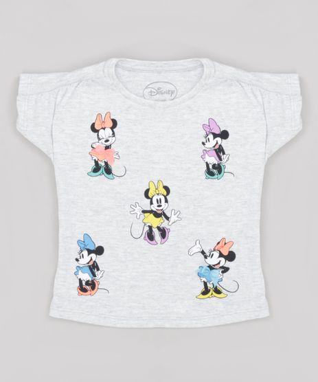 Blusa-Infantil-Minnie-com-Laco-Manga-Curta-Decote-Redondo-Cinza-Mescla-Claro-9276430-Cinza_Mescla_Claro_1