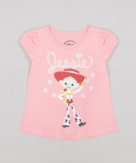 55661ca49 Blusa-Infantil-Toy-Story-Jessie-com-Glitter-Manga-