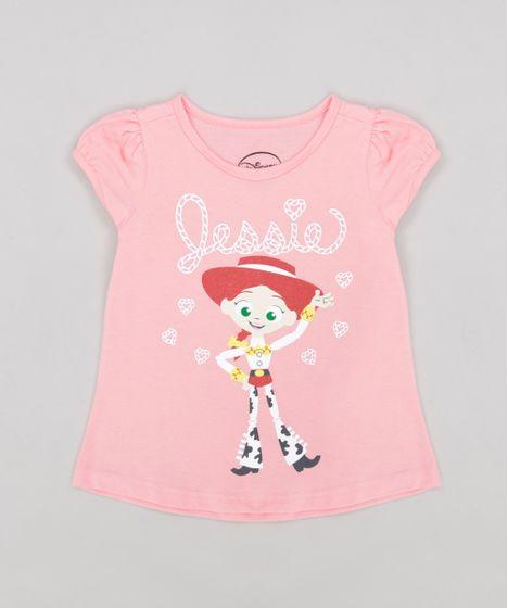 Blusa Infantil Toy Story Jessie com Glitter Manga Curta Decote ... 1a5c8e10255