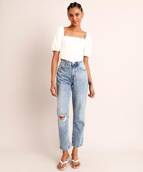 Calca-Reta-Jeans-Marmorizado-Destroyed-Cintura-Super-Alta-Azul-Claro-1006040-Azul_Claro_1