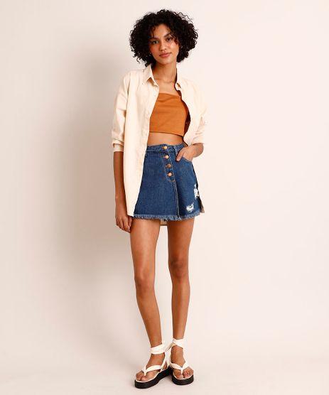Short-Saia-de-Jeans-Cintura-Alta-Assimetrico-com-Puidos--Azul-Escuro-1003812-Azul_Escuro_1