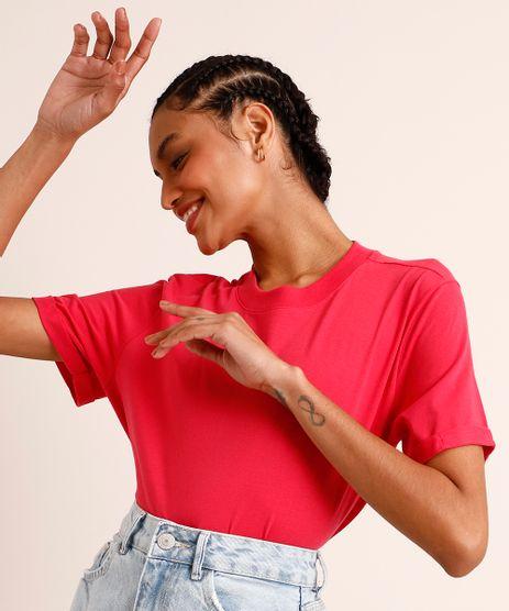 Camiseta-de-Algodao-Basica-Manga-Curta-Decote-Redondo--Pink-9980091-Pink_1