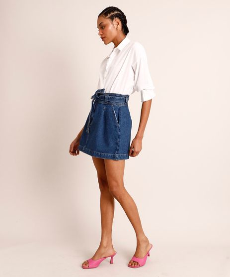 Saia-Clochard-Curta-Jeans-com-Faixa-para-Amarrar-Azul-Escuro-9991734-Azul_Escuro_1