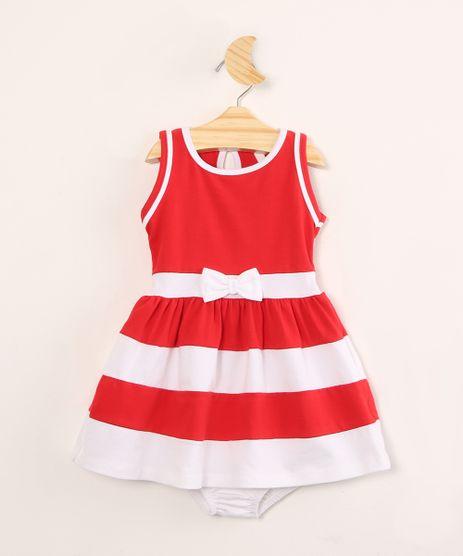 Vestido-Infantil-Hello-Kitty-com-Laco-e-Listras-Sem-Manga---Calcinha--Vermelho-9996572-Vermelho_1