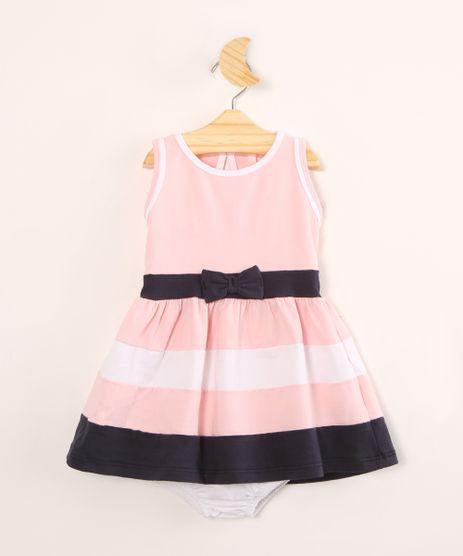 Vestido-Infantil-com-Laco-e-Listras-Sem-Manga---Calcinha--Rosa-Claro-1004523-Rosa_Claro_1