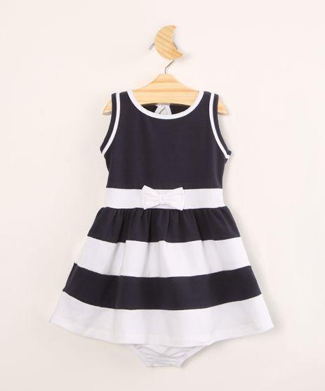 Vestido-Infantil-com-Laco-e-Listras-Sem-Manga---Calcinha--Azul-Marinho-1004520-Azul_Marinho_1