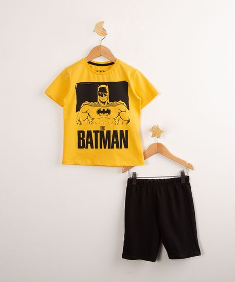 Conjunto-Infantil-em-Algodao-de-Camiseta-Manga-Curta-Amarela-Batman---Bermuda-de-Moletom-Preta-9994535-Preto_1