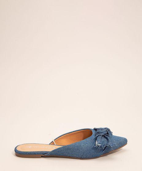 Mule-Feminino-Jeans-Bico-Fino-com-Laco-Via-Uno-Azul-Medio-9999905-Azul_Medio_1